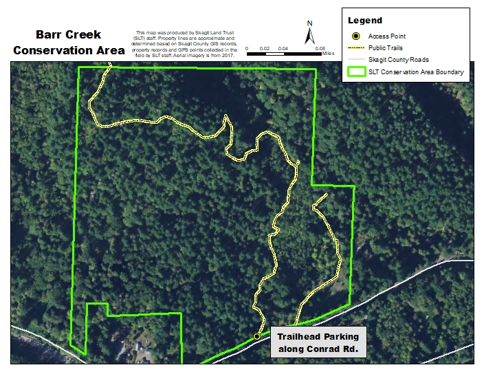 Aerial Map of Barr Creek Conservation Area and Hegg-Benson Trail. Created by Skagit Land Trust staff.
