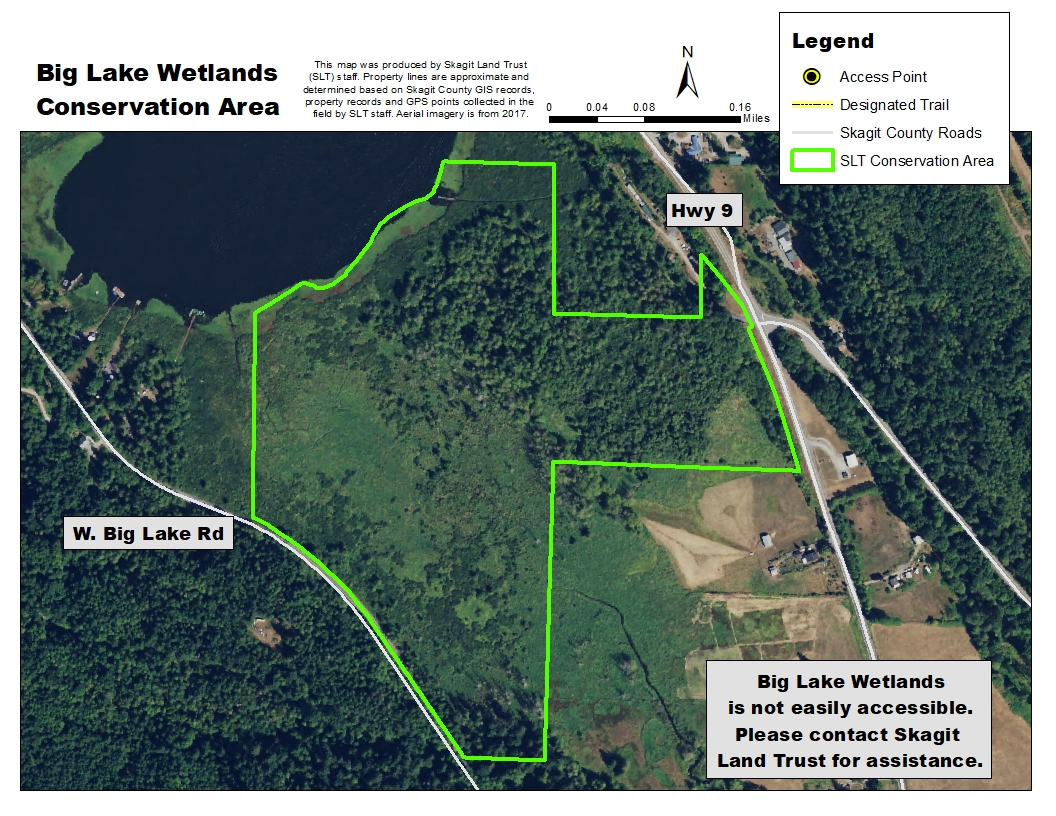 Aerial map of Big Lake Wetlands Conservation Area. Map created by Skagit Land Trust staff.