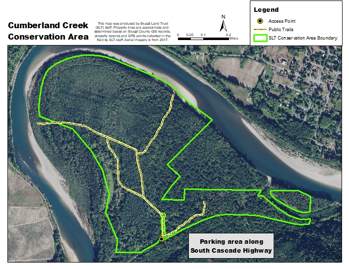Aerial Map of Cumberland Creek generated by Skagit Land Trust staff.