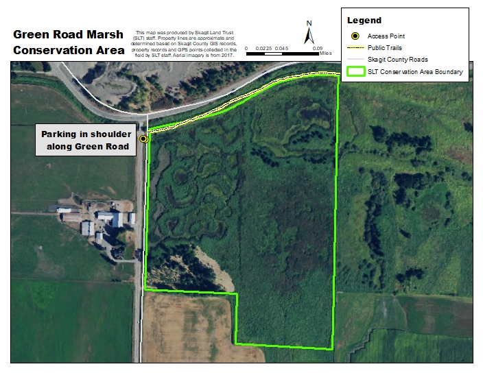 Aerial map of Green Road Marsh Conservation Area. Map created by Skagit Land Trust staff.