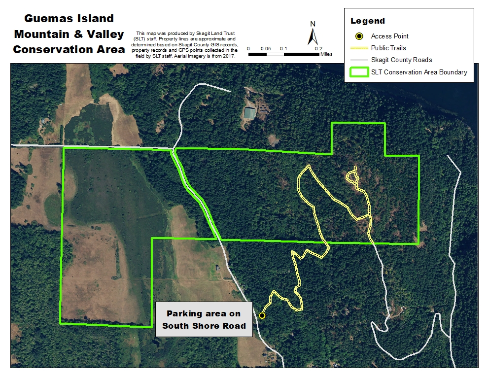 Skagit Land Trust Map of Guemes Moutain & Valley Conservation Area and Guemes Mountain Trailhead parking.