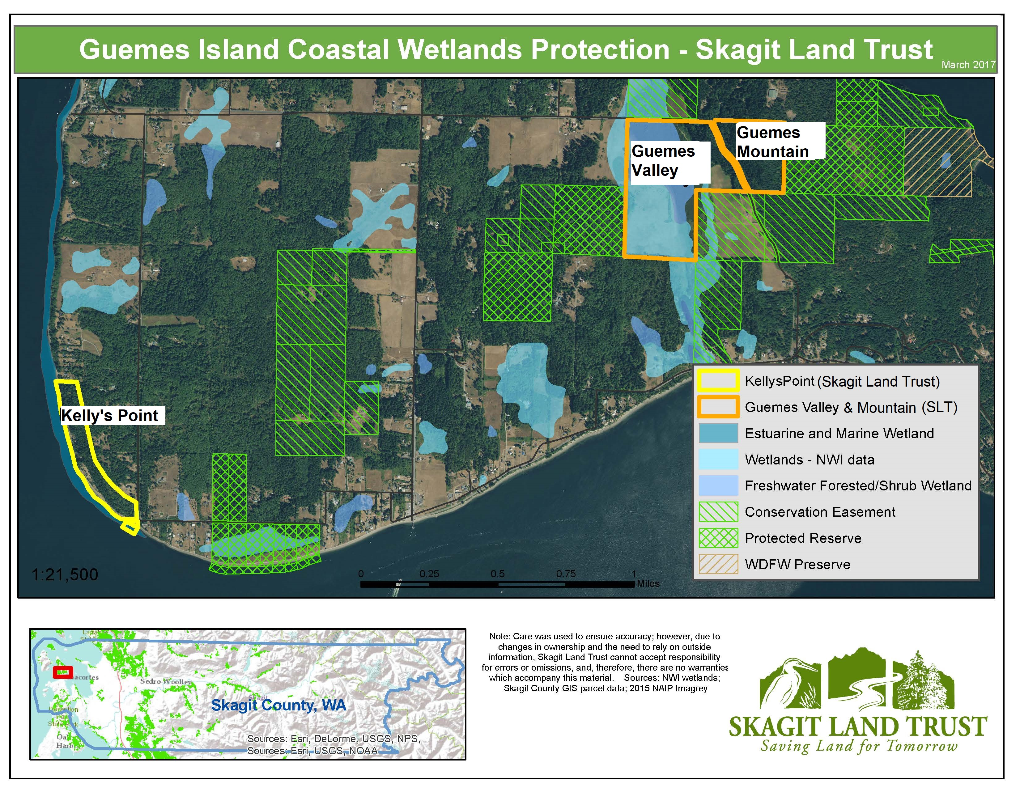 Map of Guemes Island Coastal Wetlands Protection and Wildlife Corridor. Map generated in GIS by Skagit Land Trust staff (2017).