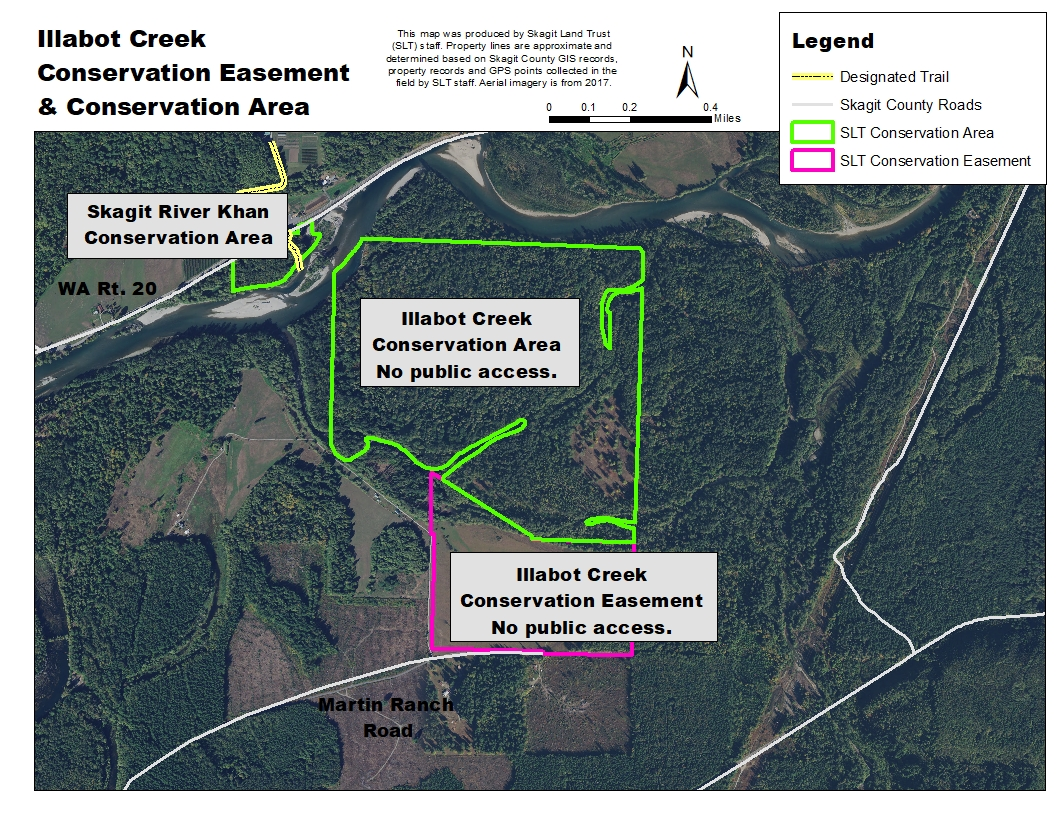 Map of Illabot Creek - Perrigoue Conservation Easement and surrounding conservation lands managed by Skagit Land Trust. Map created using NAIP aerial photograph by Skagit Land Trust staff.