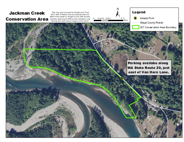 Aerial photograph of Jackman Creek Conservation Area and access. Map created by Skagit Land Trust staff.