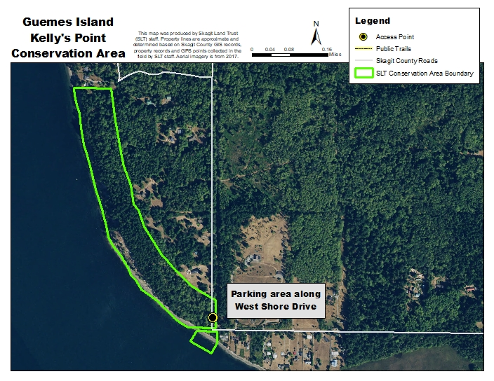 Aerial map of Kelly's Point Conservation Area. Map created using 2017 NAIP aerial imagery by Skagit Land Trust staff.