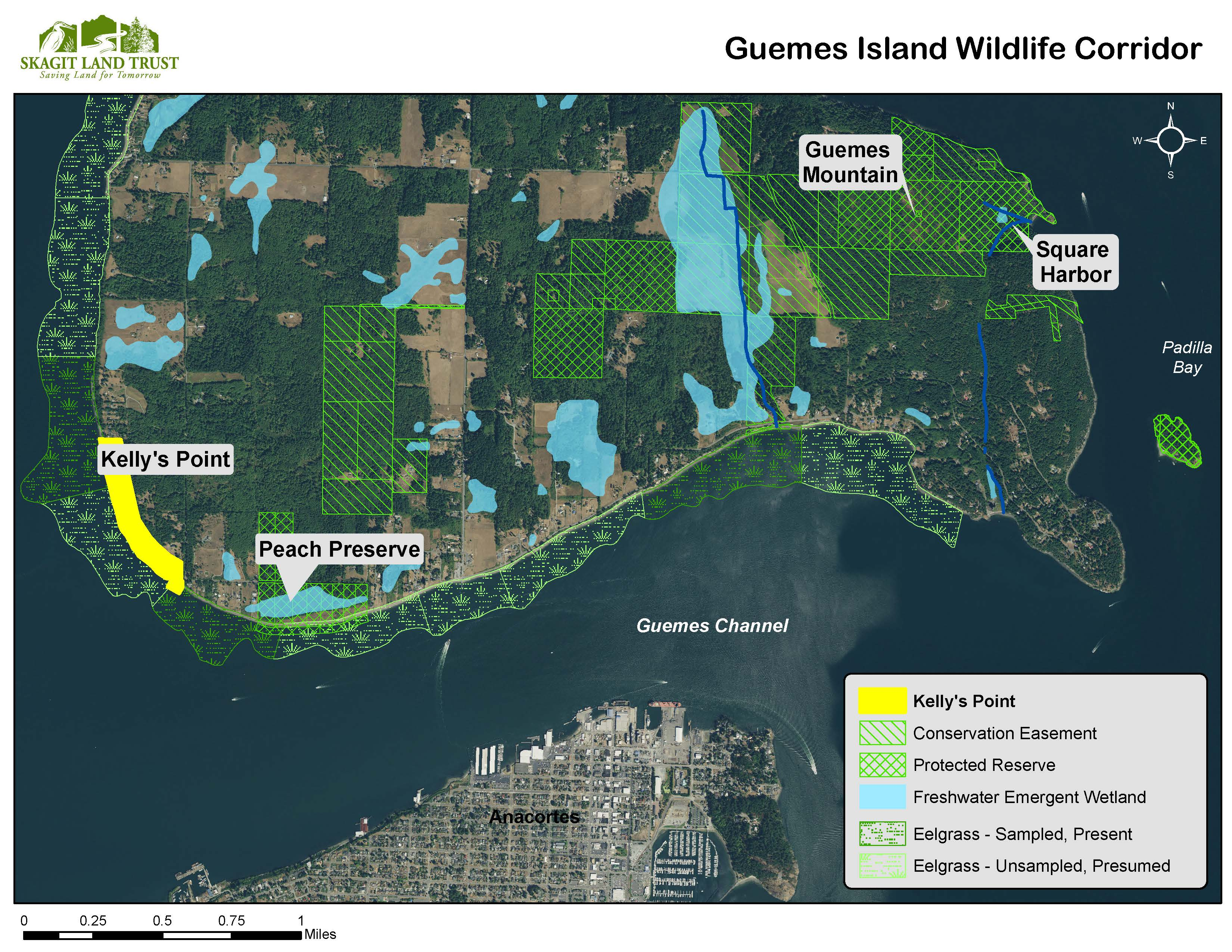 Map of conservation areas on Guemes Island, created by Skagit Land Trust staff.