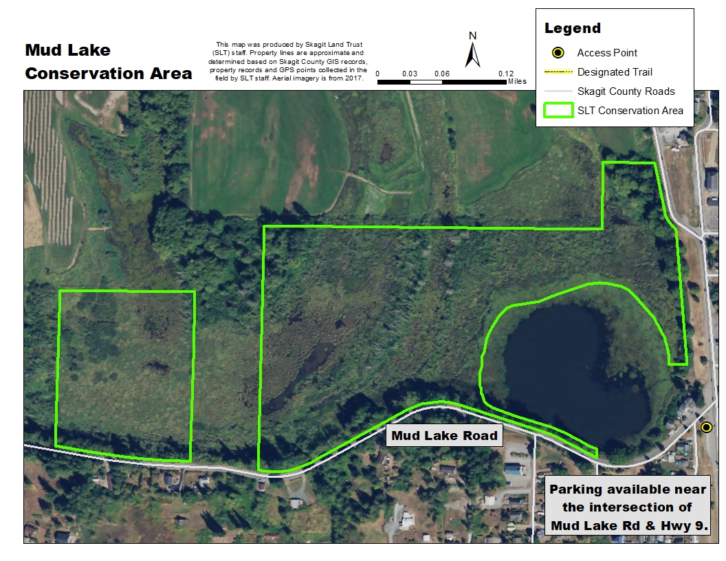 Aerial map of Mud Lake Conservation Area. Map created by Skagit Land Trust staff.