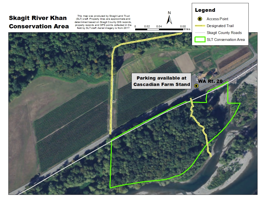 Aerial map of Skagit River Khan Conservation Area. Map credit: Skagit Land Trust staff.