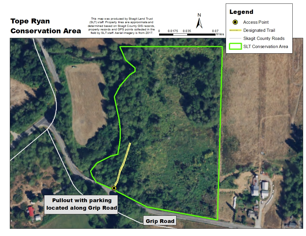 Aerial map of Tope Ryan Conservation Area. Map created by Skagit Land Trust staff.