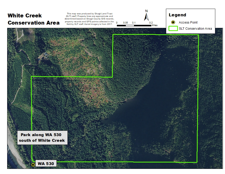 Aerial map of White Creek Conservation Area. Map created by Skagit Land Trust staff.