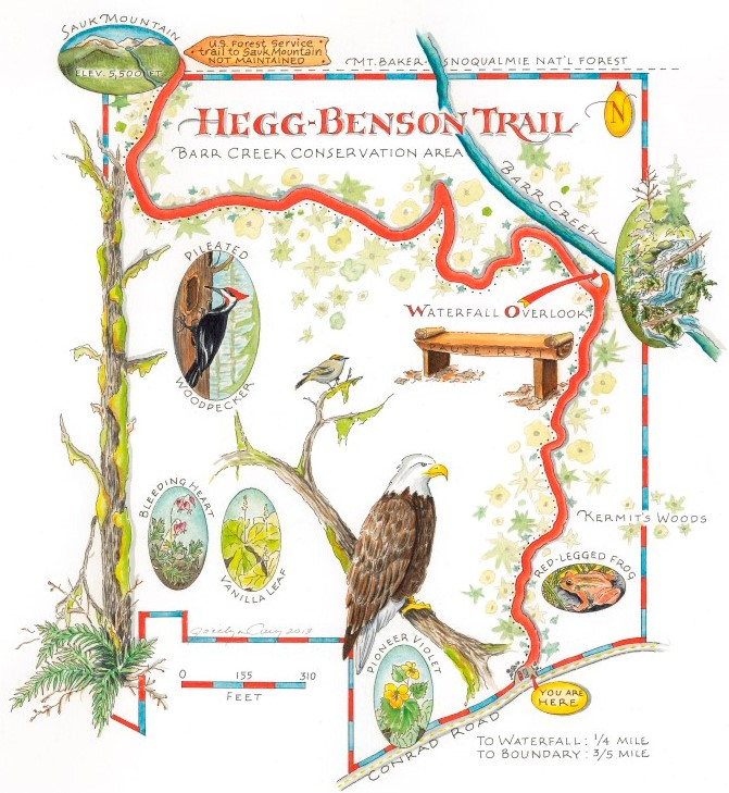 Local illustrator and cartographer Jocelyn Curry illustrated a map of the Hegg-Benson Trail.