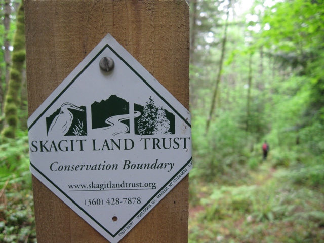 Barr Creek Conservation Area Trail Sign. Photograph credit: Skagit Land Trust staff