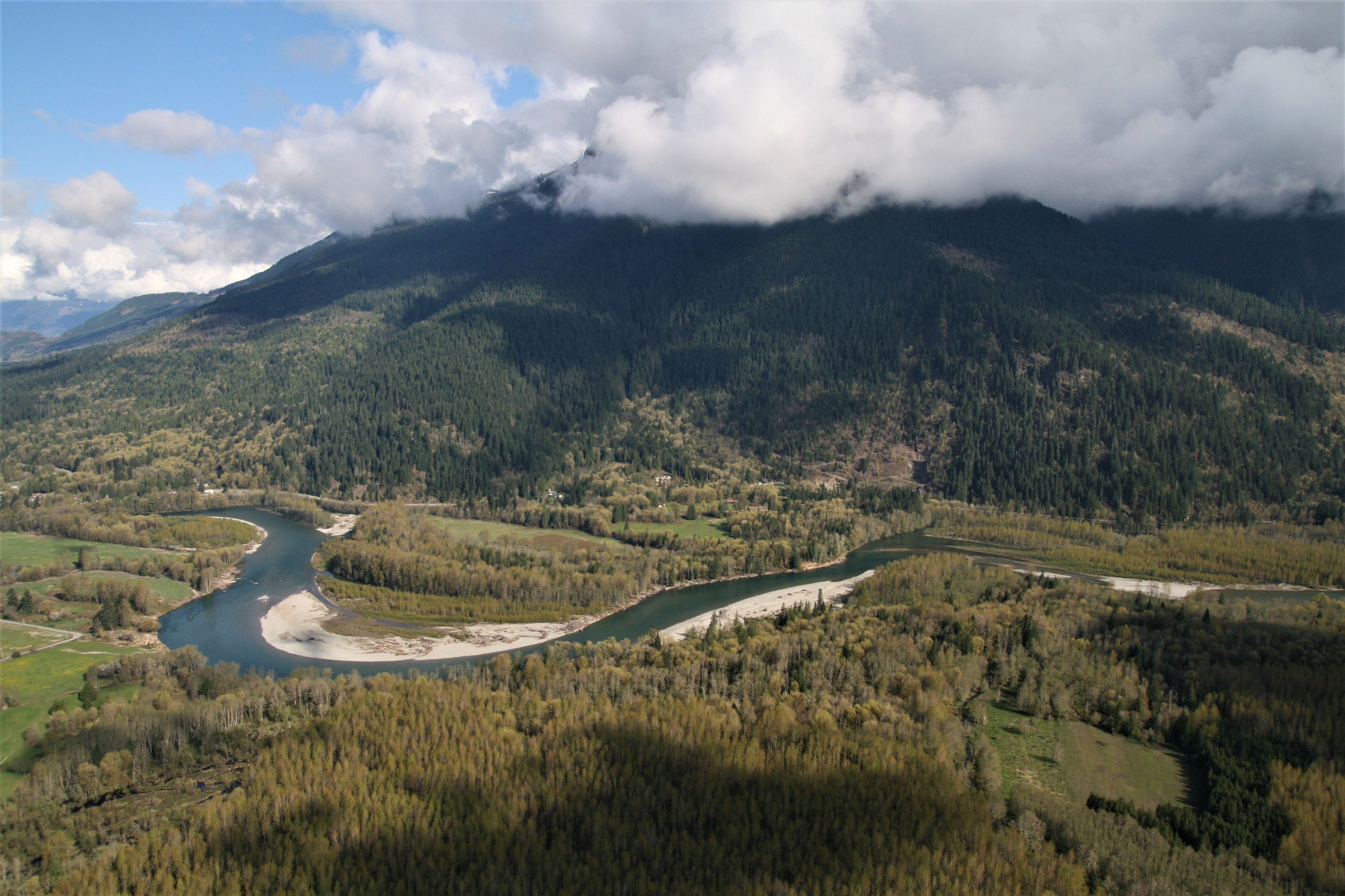 View from Sauk Mountain looking south over the Skagit River. Aerial photography by Andy Cline.