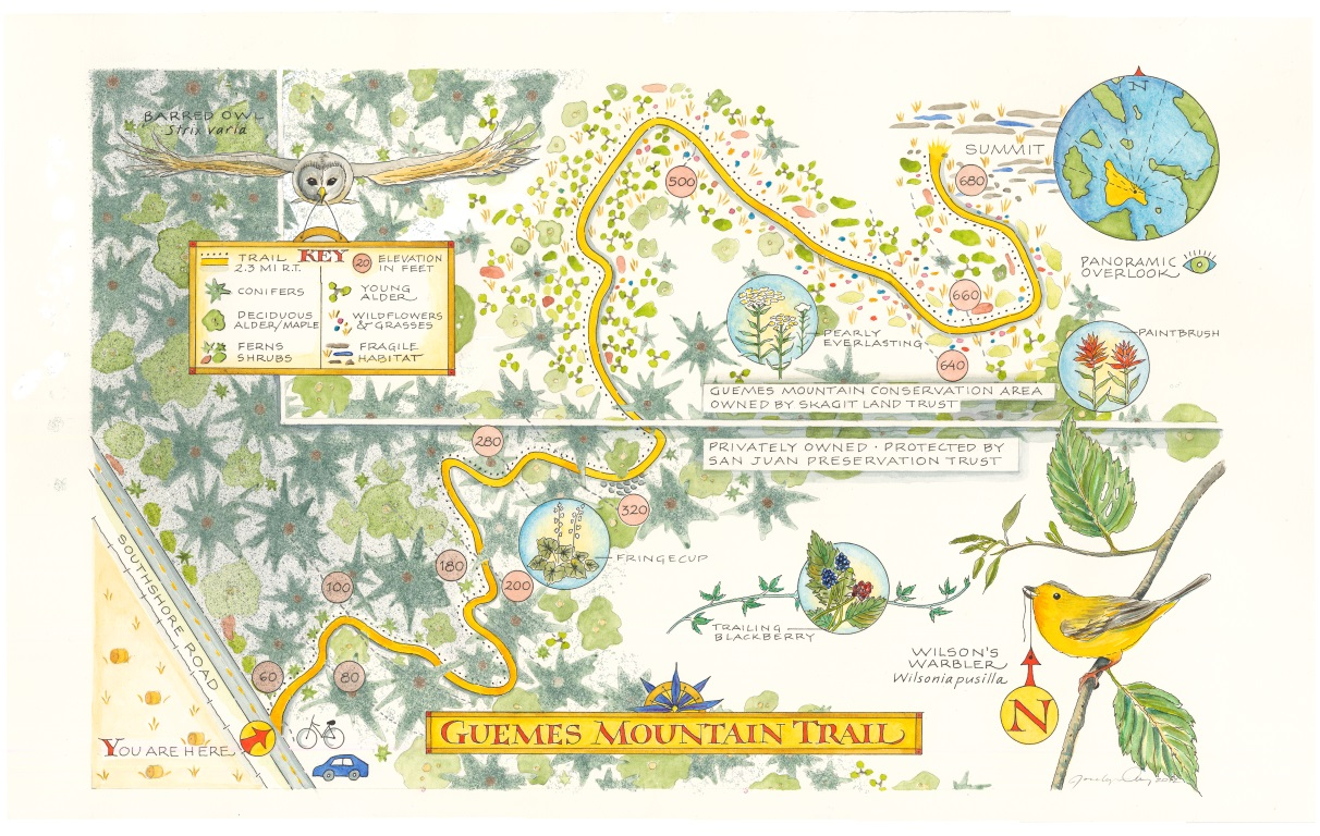 Local illustrator and cartographer Jocelyn Curry illustrated a map of the Guemes MountainTrail.