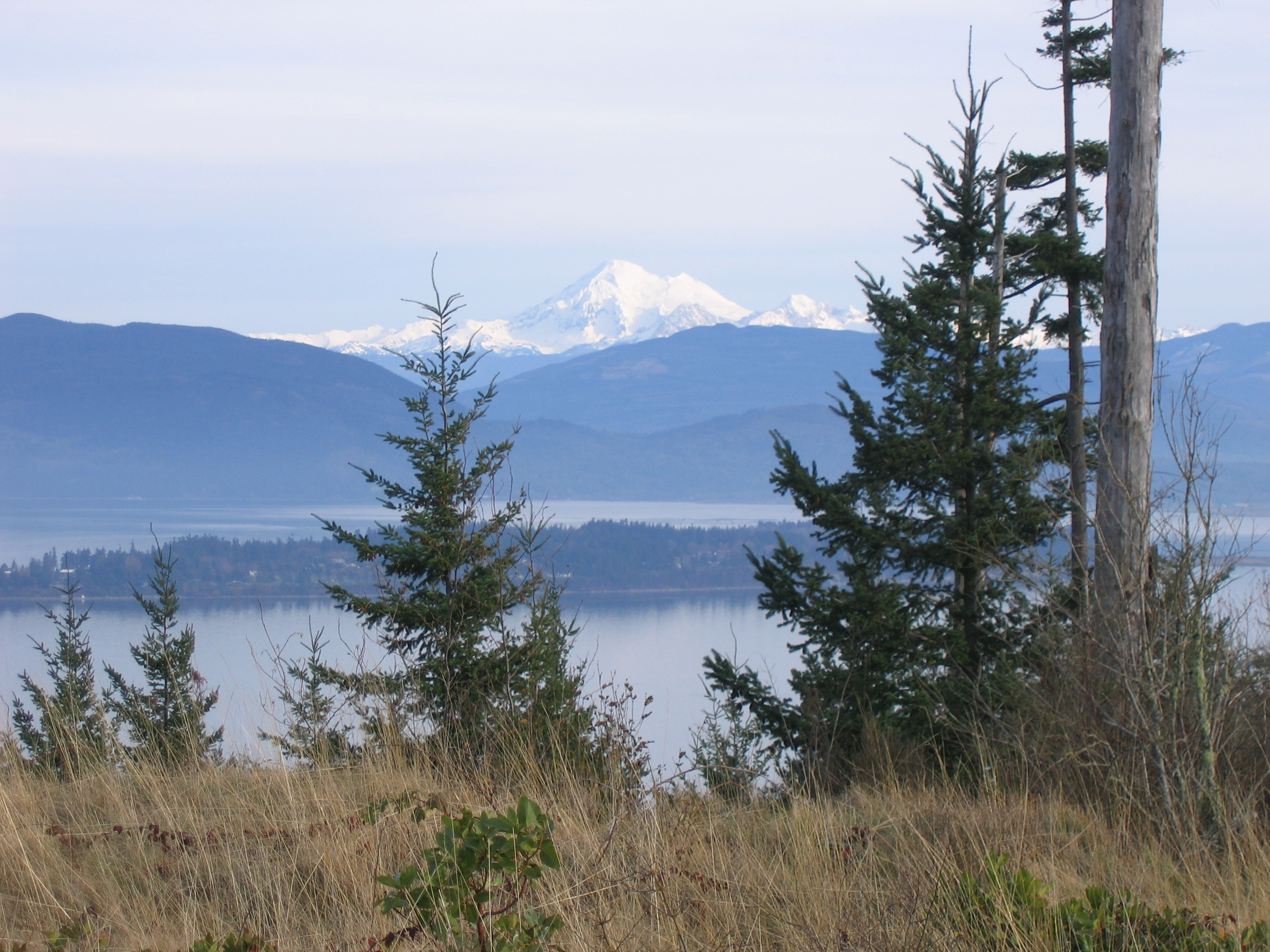 View from the summit of Guemes Mountain of Mount Baker, December 2009. Photograph credit: Skagit Land Trust staff.
