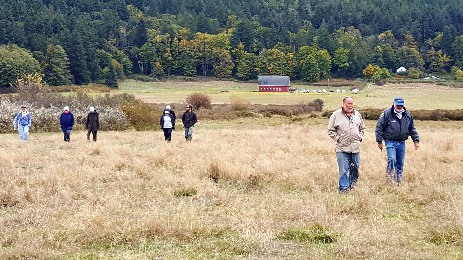 Community members tour Guemes Valley property, October 2017. Photograph credit: Skagit Land Trust staff.