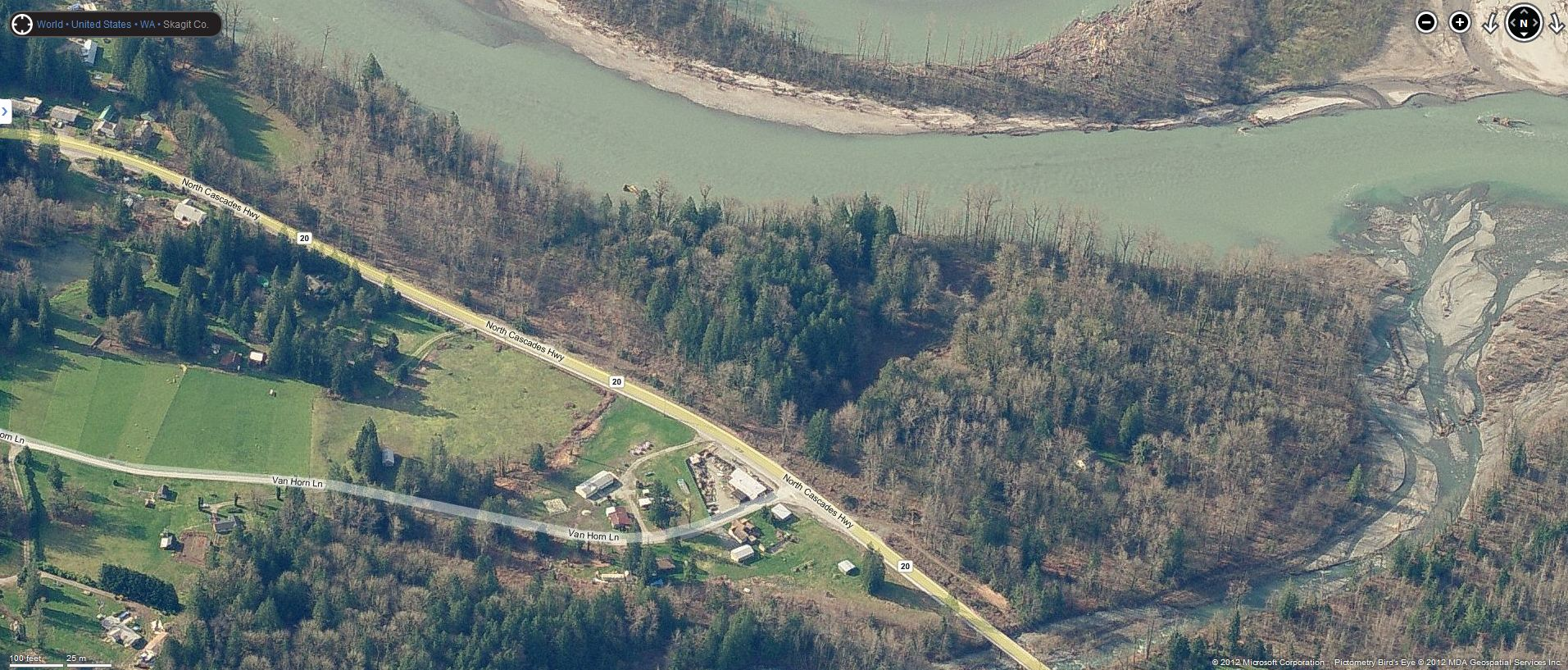 Aerial image of the confluence of Jackman Creek with the Skagit River. Credit unknown.
