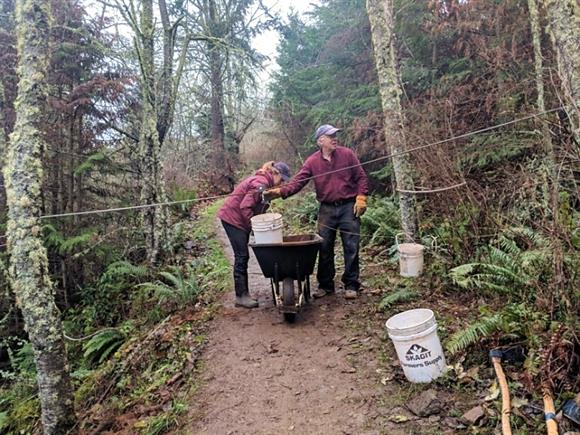 Paul Johnson helping maintain trails at Guemes Mountain.
